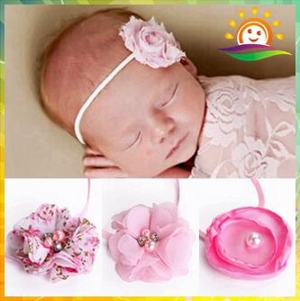Chic Shabby Flower Baby Headbands,girls Headbands,Skinny Elastic baby hair accessories newborn Photo props pearl #J003 10pcs/lot(China (Mainland))