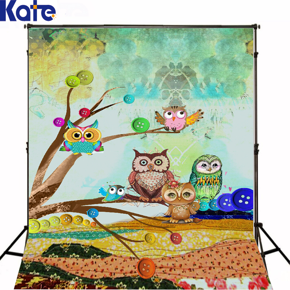 Kate Colorful Background Cartoon Cute Owl Photography Backdrops Color Paintings For Children Photography Kids Background(China (Mainland))