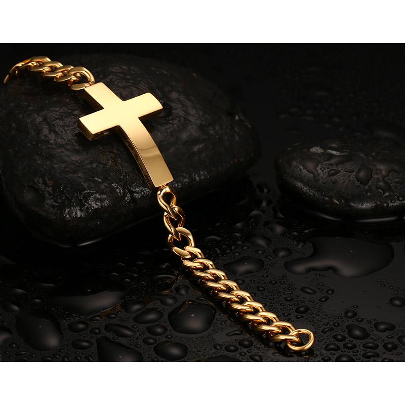 Vnox  gold plated cross bracelets & bangles for men stainless steel mens prayer Hand Chain