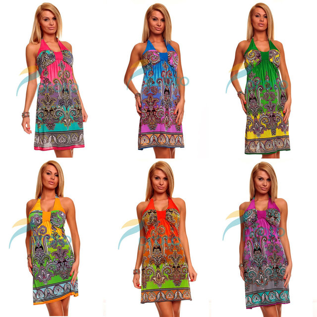 Fedex Freeshipping 20pcs/lot Wholesale 2013 Fashion Printed Halter Boho Beach Dress Summer Casual Plus Size Dress 4144