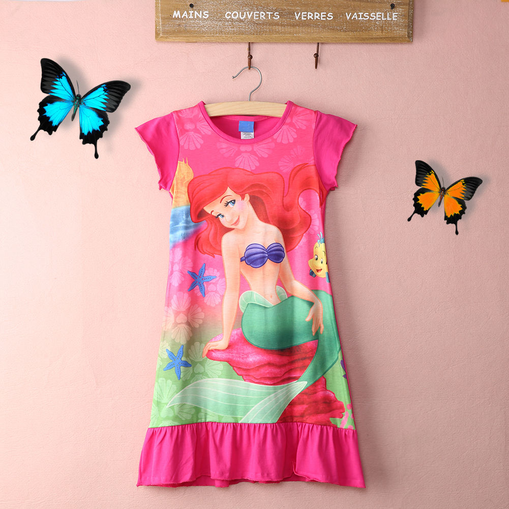 2016 cute new style Girls Kids Little Mini Dress children grament clothes Night dress Age 6-16Years(China (Mainland))