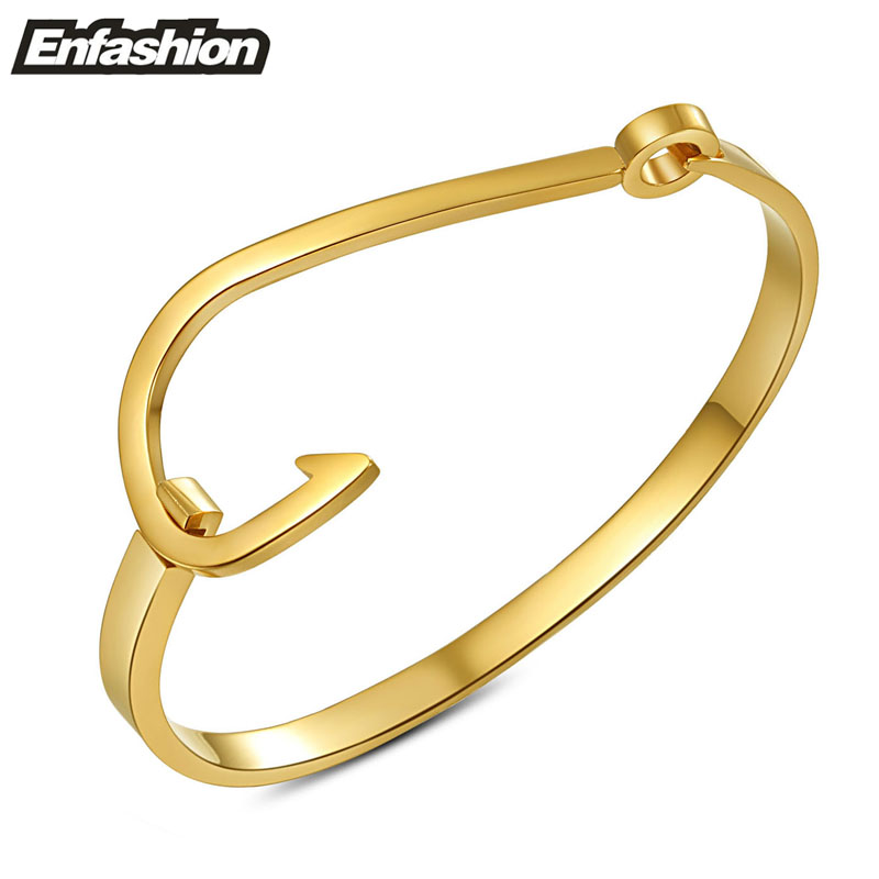 Fashion fish hook cuff bracelet 18K rose gold plated bracelets for women and men stainless steel silver bangles wholesale(China (Mainland))