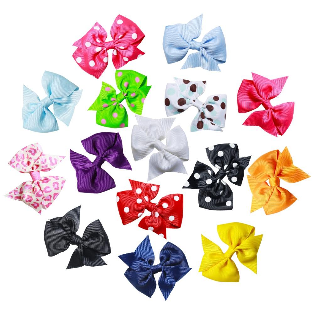 Ha hair bow ribbon wholesale - 15pcs 3 Inch Hair Bows For Girls Polka Dot Bulk Alligator Hair Clips Grosgrain Ribbon Bows Hair Accessories For Girls