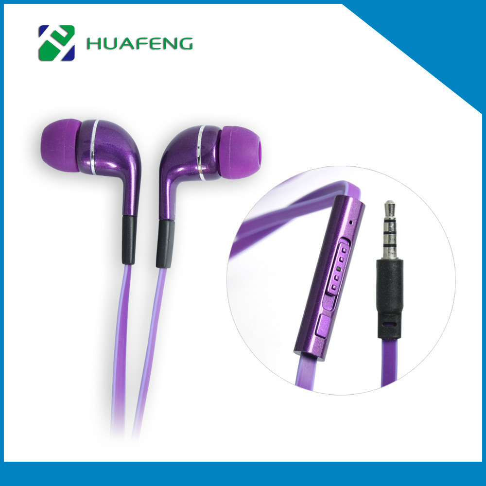 Universal Colorful Metal Style Earphone Fashion Headset with 3.5mm Connector Microphone Stereo Bass for iPhone pad MP3 MP4(China (Mainland))