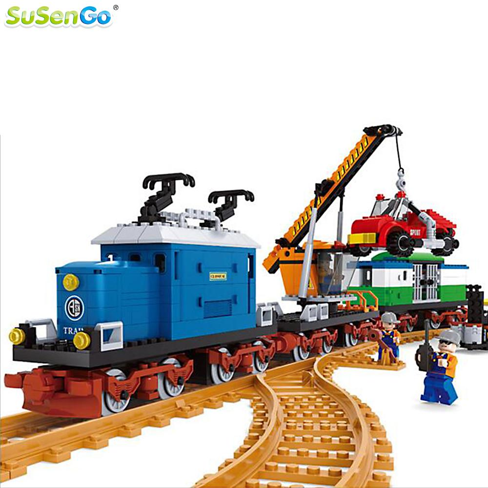 SuSenGo Building Kit Locomotive Train Model Blocks City Transport Children Educational Toys Christmas Gift Compatible with Lepin(China (Mainland))