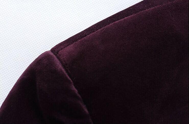 Осень мужчины бархат пиджак мода одной кнопки костюм пиджак чистый цвет свободного покроя пиджак костюм slim-подходят Blazer Masculino Y1368