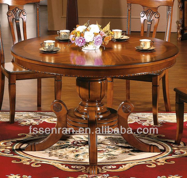 Compra Mesa redonda de comedor de madera maciza online al por ...