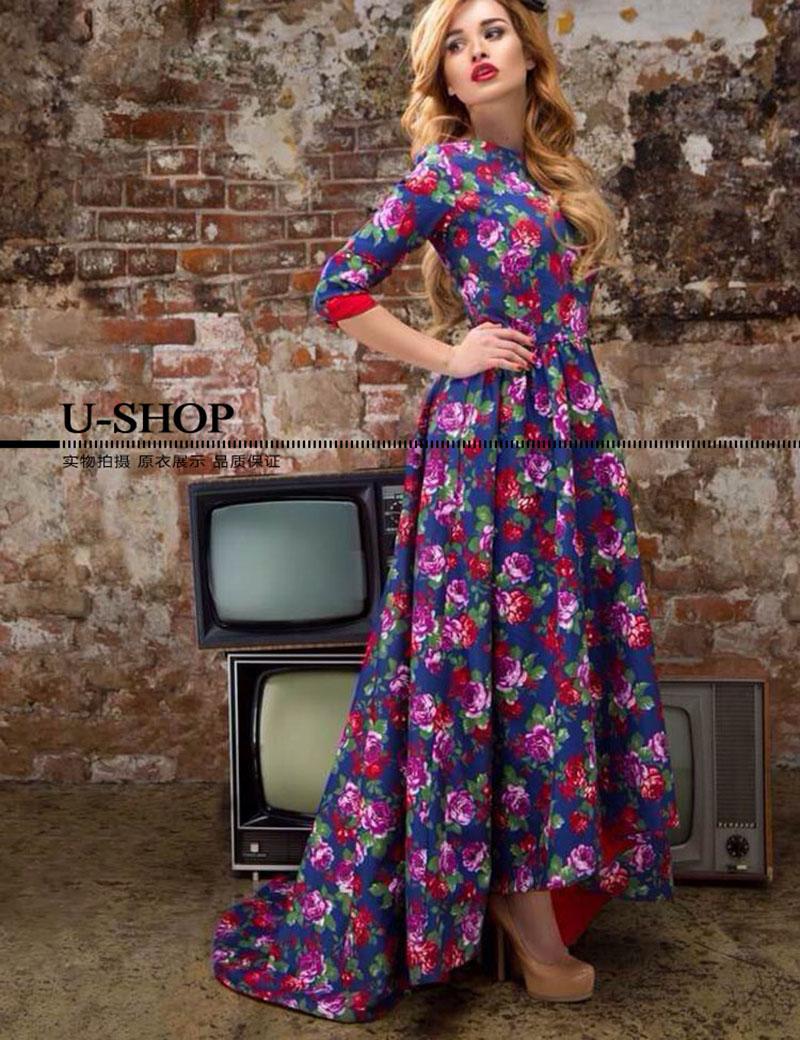 Designer Dress 2016 Fashion Spring Summer Brand Three Quarter Sleeve Floral Print Mid-Calf Dovetail Purple Casual Dress