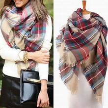 Fashion Blanket Oversized Tartan Scarf Wrap Shawl Plaid Cozy Checked Pashmina Women Hot Shawl Scarf