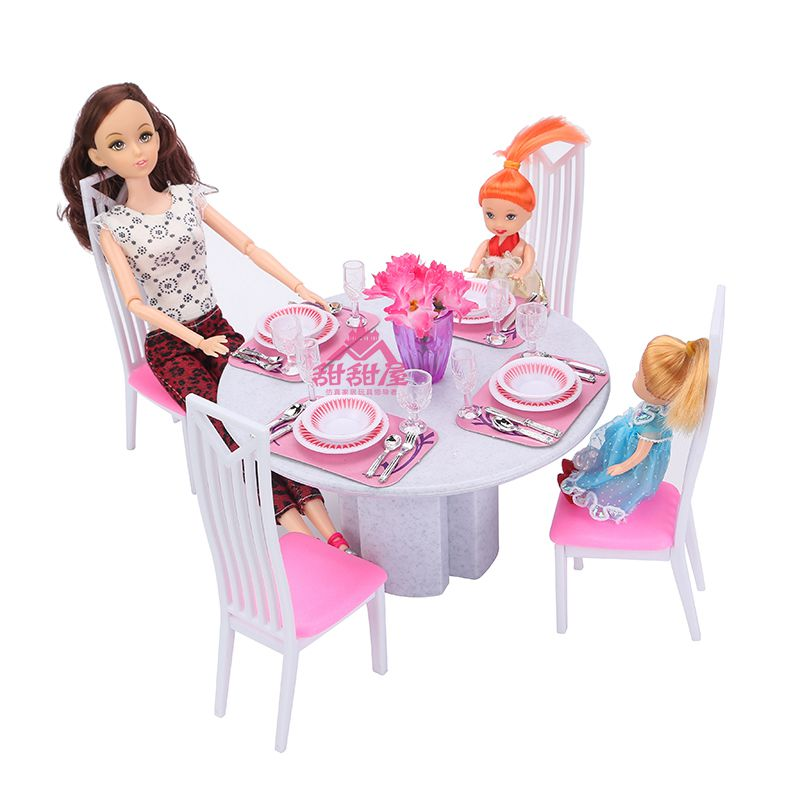 Miniature Furniture High Simulation of White Porcelain Dining Table for Barbie Doll House DIY Toys for Girl Free Shipping(China (Mainland))