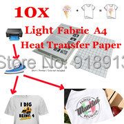 10 x A4 T-Shirt Transfer Paper T-shirt Laser/Inkjet Iron-On thermal/Heat Transfer Paper, For Light Color Fabric 11.7 x 8.3 in(China (Mainland))