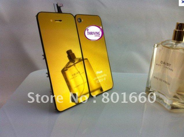 Hot Sale Mirror Chrome Plated Front Touch Screen LCD Assembly+back Housing+Button For Iphone 4 4G Free Shipping full Gold