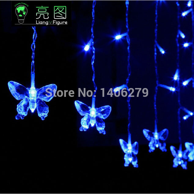 Multi-color Butterfly LED STRING Strip Festival Holiday LIGHTS CHRISTMAS WEDDING Lamps 3.5m 100SMD 110V/220V EU/US/UK/ 150102(China (Mainland))