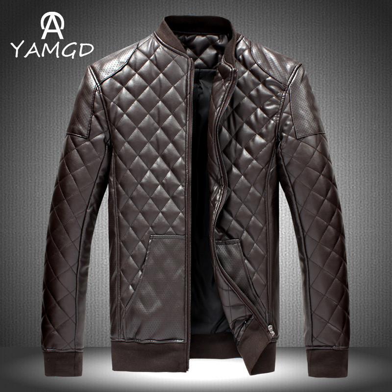 winter fashion men leisure thickening warm leather cotton-padded clothes /Men's stand collar Diamond lattice pu down jacket coat(China (Mainland))