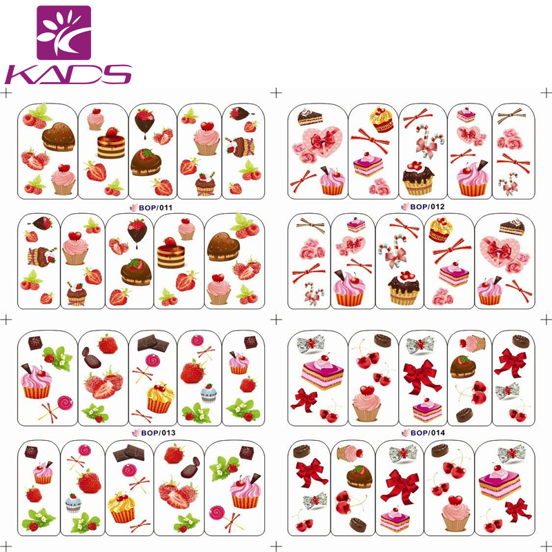BOP011-014 Lovely cake with strawberry water transfer nail sticker decals for women nail sticker nails with cheap nail decal(China (Mainland))