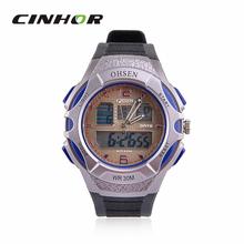 Ohsen AD1301 con estilo del deporte de hombre analógico + Digital de cuarzo reloj de pulsera – negro + azul ( 1 x CR-2025 )