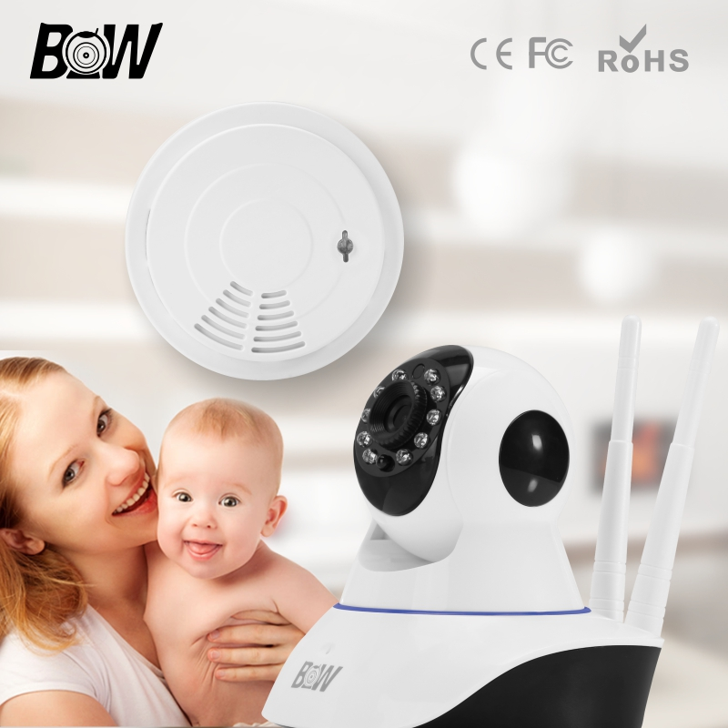 Surveillance Security CCTV Onvif Indoor Wifi Mini IP Camera + Smoke Detector Wireless Mobile Remote Kamera Support iOS Android(China (Mainland))