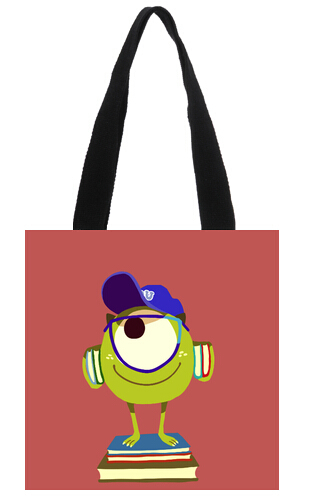 2014 New Arrival promotion price Shopping Bag cut and strange Mr.Q figure 11.8x11.8inch Tote Bag(China (Mainland))