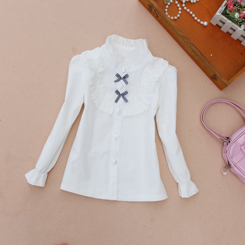 girls clothes 2016 Autumn blouse children clothing cotton child shirt school girl white kids age 2-16Y - Follow Heart World store