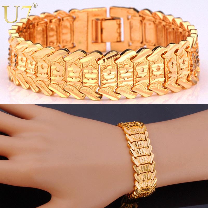U7 Gold Bracelet Flower Pattern New Trendy Platinum/18K Real Gold Plated Unisex Jewelry 20 CM 10 MM Wide Chain Bracelet H494(China (Mainland))