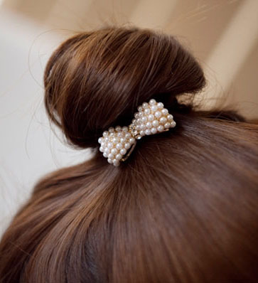 Fashion Style Cute Hair Ornaments Imitation Pearl Bowknot Elastic Hair Accessories hairbands hair rope for girls SF018