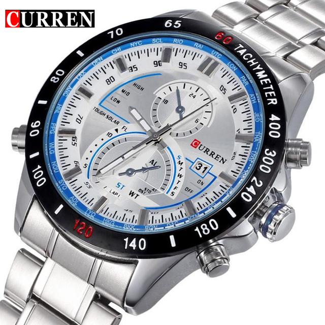 Марка Curren приборной панели дейл мужчины нержавеющей стали кварцевые наручные часы мода свободного покроя военная наручные часы марка качество подарок продажа
