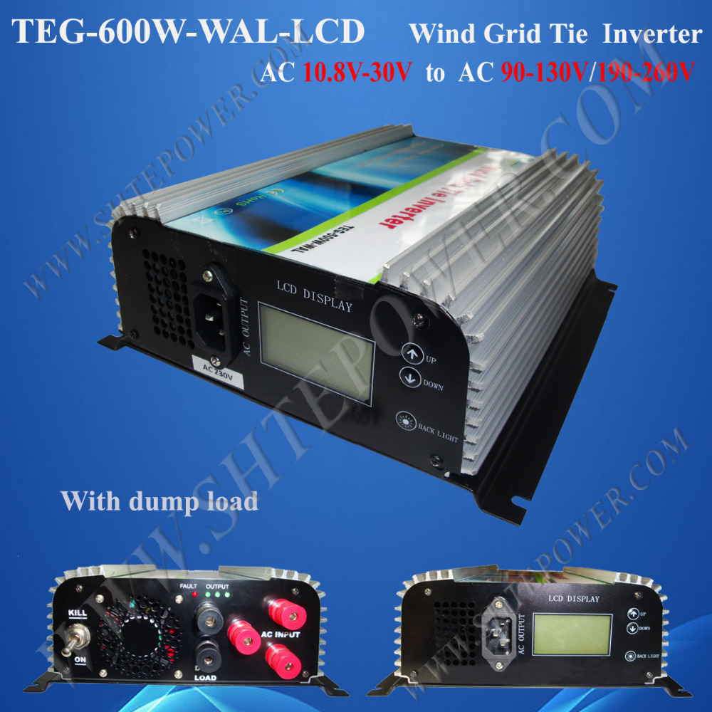 600w LCD Display wind inverter on grid tie, grid micro inverter600w, 12v/24v AC to 120v/220v/240v AC grid connect wind inverter(China (Mainland))