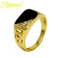 Ajojewel Brand Size 8-11 Hollow Out Design Fashion Classic Black Enamel Rhinestone Golden Ring For Men/Women 2015 New Arrival(China (Mainland))