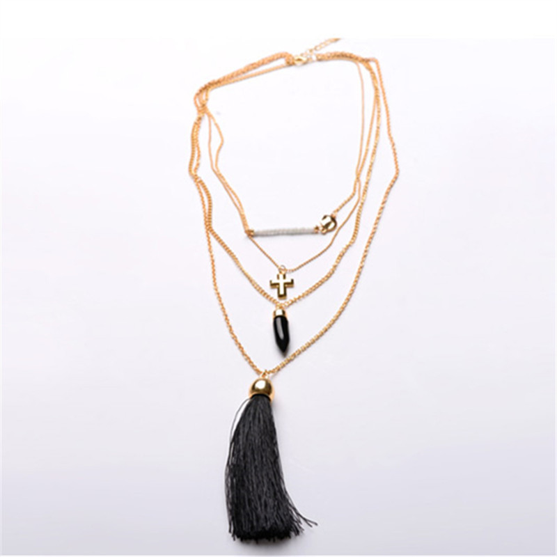 Multilayer tassel necklaces white turquoise black tassel stone pendant necklace sweater chain for women 2015 new fashion jewelry(China (Mainland))