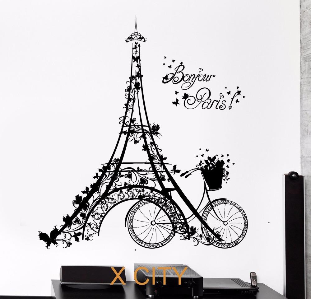 Bonjour Paris Scenery Eiffel Tower Bicycle Art Wall Decal Sticker Black Vinyl Transfer Stencil Mural Home Room Decor(China (Mainland))