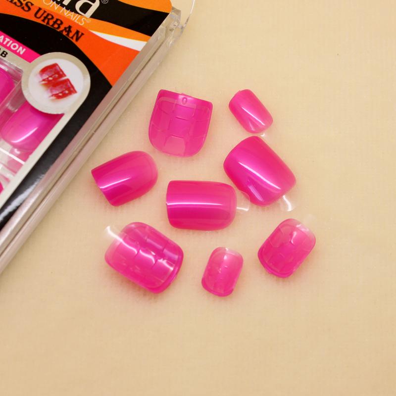 New 24tips Press-on Nail Kit, Nail Tips with Adhesive Tabs, Hot Pink Color, Nail Art, SKU#SEN02(China (Mainland))