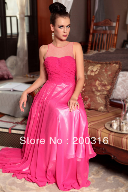 New arrival peachpink irioning crystal tulle chiffon sweet cheap prom dresses  Free Shipping By Ems 2013 new evening dress