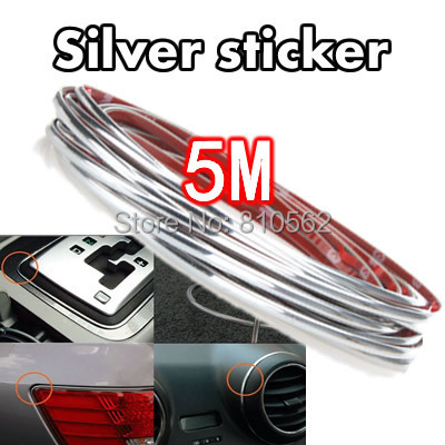 free shipping 5m auto decoration bar thread car interior exterior body modify strip decal silver. Black Bedroom Furniture Sets. Home Design Ideas