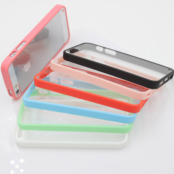 New Style Candy Colors cell phone case transparent back covers for iphone 5 5S 5G case PC Material Cover Cases & Bags PC0008(China (Mainland))