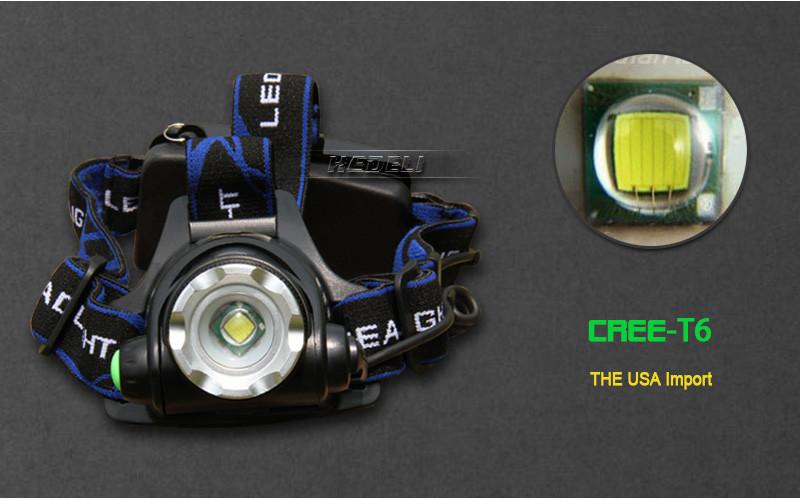 cree headlight led headlamp xm l t6 xm-l2 waterproof zoom head lamp 18650 rechargeable battery flashlight head torch Lights