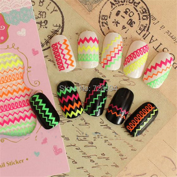 2015 new arrival Free Shipping New 3D Colorful Women Nail Art Tips Stickers Decal Acrylic Manicure Decorations JE184A(China (Mainland))