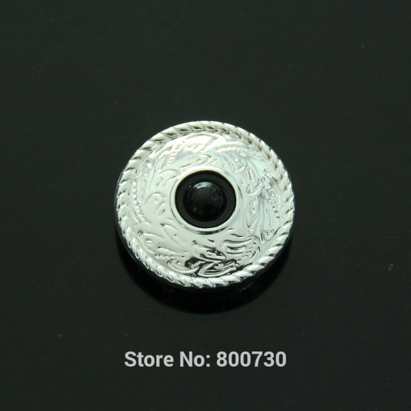 Wholesale! 50pc 1'' (2.5cm) Metal Concho Prairie Dust Concho Sterling-Silver w/ Black-Stone Leathercraft(China (Mainland))