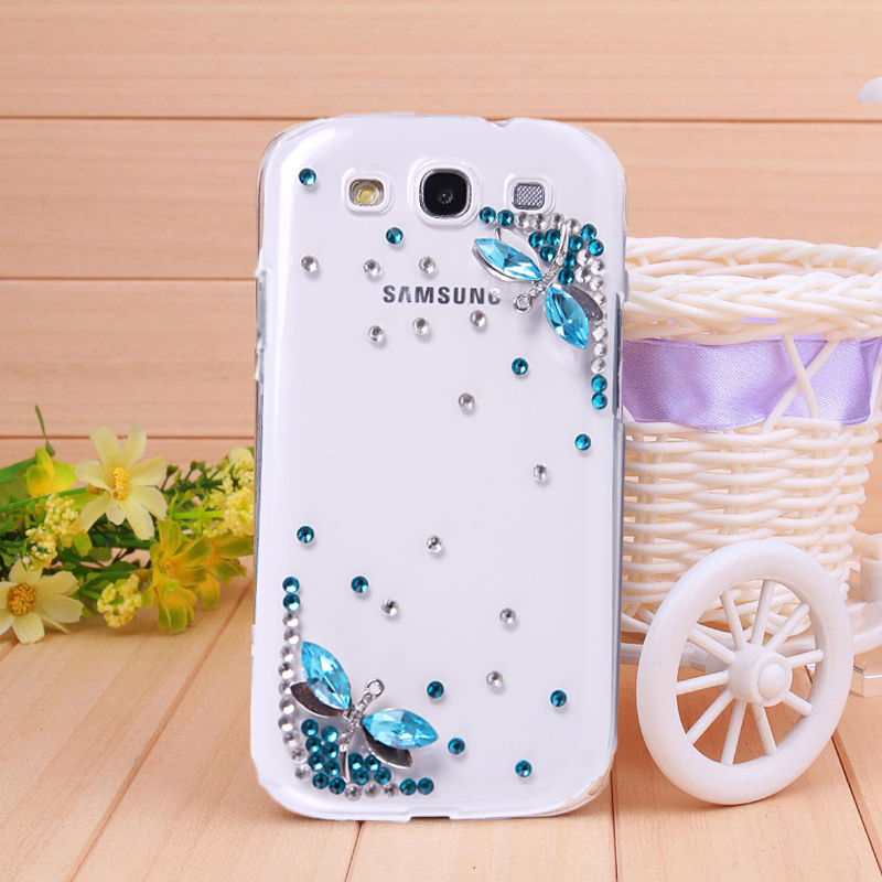 cheap original Blue Dragonfly Rhinestone Case For Samsung Galaxy s3 case i9300 Mobile Border Protection cell phones cover(China (Mainland))
