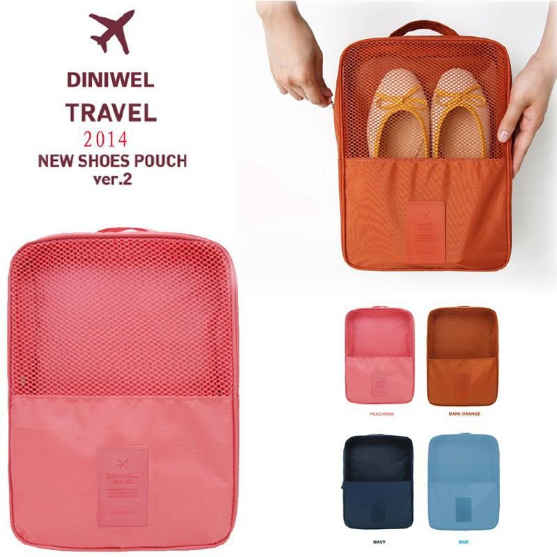New Brand Multilayer Portable 4 Colors Shoes Bag Travel Nylon Box Shoe Storage Organizer Box(China (Mainland))