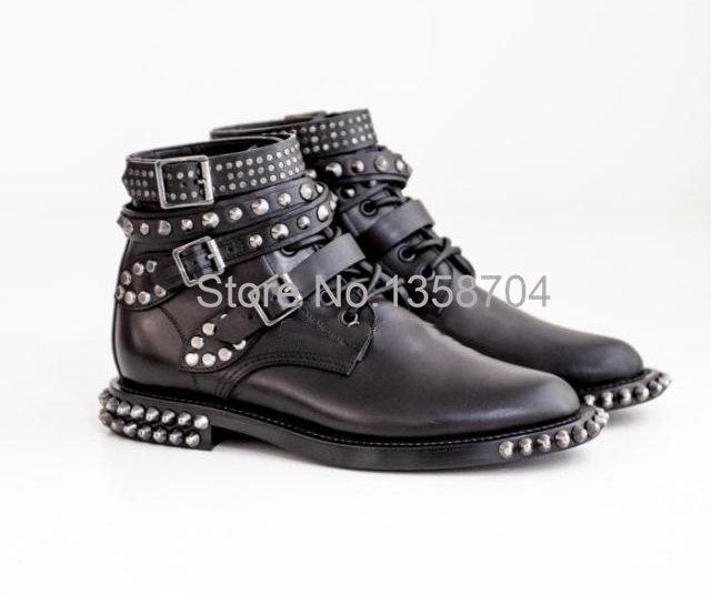Women Motorcycle Boots Buckle Strap Rivets Boots Brand Genuine Leather Soft Leather Pointed Toe Western Shoe Famous Designer(China (Mainland))