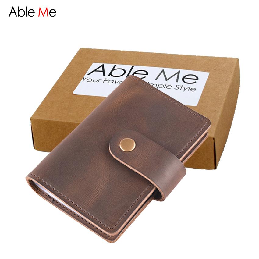 AbleMe Multi-Pocket Cards Bag 24 Slots Large Capacity ID Holder 7*10cm Leather Handmade Custom Name Hasp Card Holder Wallet