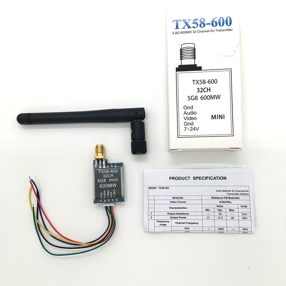 Car Video wifi Rearview System for Aircraft TX58-600 5.8G 600mW 32CH AV Mni Wireless Transmitter RPSMA Connector(China (Mainland))