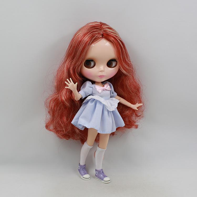 Фотография Blyth nude doll joint body with reddish-brown long hair 30cm fashion nude doll diy bjd dolls for sale