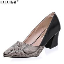 LALA IKAI Snakeskin Pattern Women Pumps Sexy Pointed Toe Microfiber Leather High Heels Shoes Woman Zapatos Mujer Tacon XWC0486-5(China (Mainland))