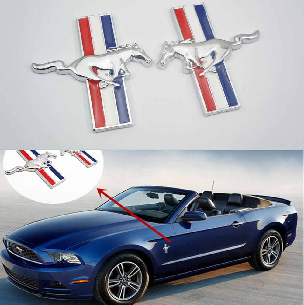 JDM Running Horse Emblem Metal Door Fender Badge Sticker Chrome for Ford Mustang(China (Mainland))