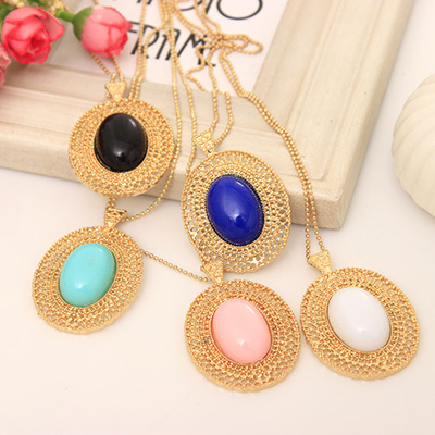 Free Shipping 10 mix order 2014 New Fashion Vintage Jewelry oval cutout necklace female long lovers