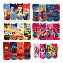 Retail 2pairs/lot 2014 New Summer baby cartoon Frozen socks kids cotton superman sock Children's Minnie socks lovely boys girls(China (Mainland))