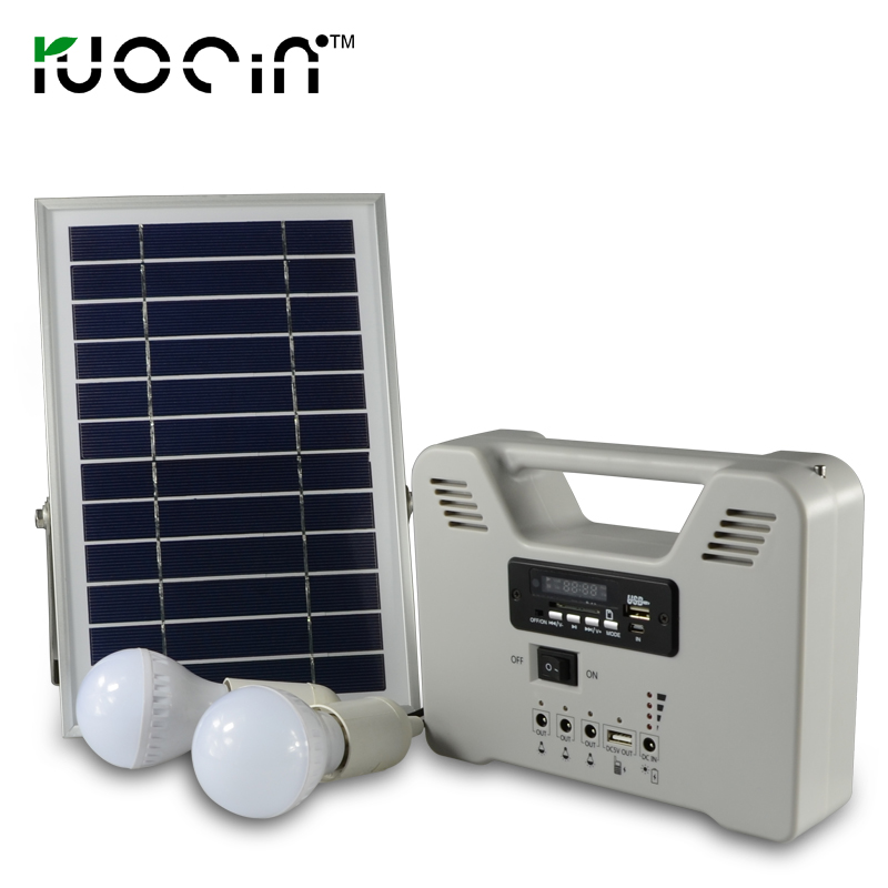 New Style Portable Small Emergency 6w Solar Power Home Lighting Rechargeable Battery Solar System With 2set Bulb FM Radio(China (Mainland))