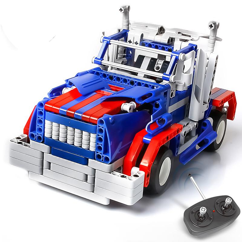 Kids Toys RC Truck Trailer font b Anime b font Robot Auto Bricks Union Building Blocks