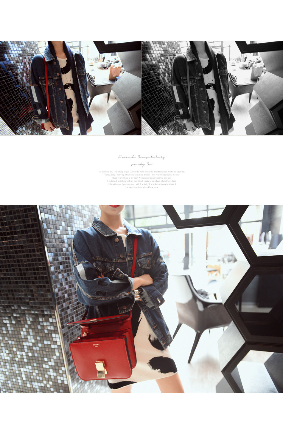 Spring New Europe Long Lapel Loose Bat Sleeve Style Denim Abstract Pattern patchwork stitched details female hot selling Jacket